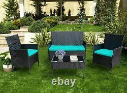 4PCS Outdoor Patio Rattan Black Wicker Table Sofa Furniture Set