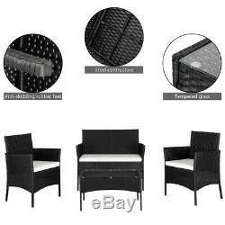4PCS Outdoor Patio Rattan Black Wicker Table Sofa Furniture Set +/w Cushions