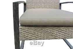 4PCS Outdoor Patio Rattan Wicker Furniture Set Coffee Table Sofa Cushioned Tan