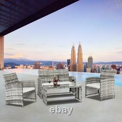 4PCS Outdoor Patio Rattan Wicker Furniture Set Loveseat Wicker Sofa + Cushioned