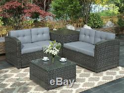 4PCS Outdoor Patio Rattan Wicker Set Furniture Sofa Cushioned With Storage Box