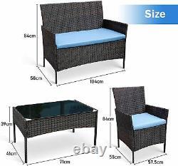 4PCS Outdoor Patio Rattan Wicker Table Sofa Furniture Set +/w Cushions