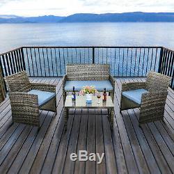 4PCS Outdoor Patio Sets PE Rattan Wicker Sofa Patio Furniture With Blue Cushion