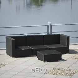 4PCS Patio Furniture Rattan Wicker Sectional Sofa Chair Couch Set Deluxe Outdoor