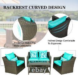 4PCS Patio Furniture Sofa Set Outdoor Garden Cushion Rattan Chair Sectional New