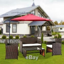 4PCS Patio Outdoor Furniture Set Rattan Garden Seating Wicker Chair with Cushion