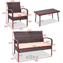 4PCS Patio PE Rattan Wicker Table Sofa Furniture Set Outdoor Garden WithCushions