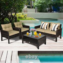 4PCS Patio Rattan Furniture Set Coffee Table Loveseat Sofa with Cushion Outdoor