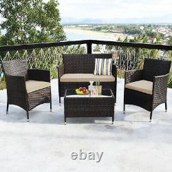 4PCS Rattan Patio Outdoor Furniture Set Cushioned Sofa Chair Table Glass Top