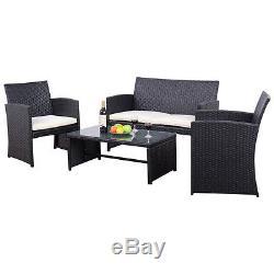 4PCS Rattan Wicker Furniture Set Sofa Seat Cushioned Outdoor Patio Garden Black