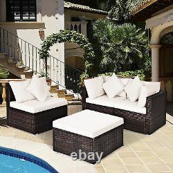 4PCS Rattan Wicker Patio Sofa Conversation Set Outdoor Furniture Set with Cushion