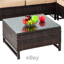 4PCS Rattan Wicker Patio Sofa Cushion Seat Set Furniture Lawn Outdoor Brown NEW