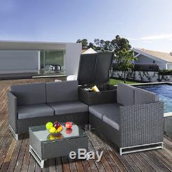 4PCS Rattan Wicker Patio Sofa Cushion Seat Set Furniture Lawn Outdoor Grey NEW