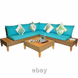 4PCS Rattan Wicker Patio Sofa Set Outdoor Furniture Set with Turquoise Cushions