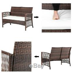4PCS Rattan Wicker Sofa Set ArmChairs Hollow Knit Patio Outdoor Furniture Brown