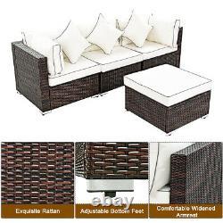 4PCS Wicker Rattan Sofa Furniture Set Patio Garden Lawn Sofa Cushioned Seat
