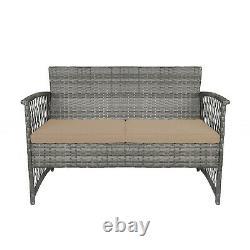 4PC Furniture Patio Outdoor Rattan Wicker Conversation Sofa Table Cushion Garden