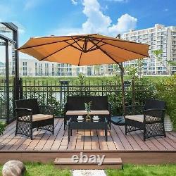 4PC Furniture Wicker Rattan Patio Outdoor Conversation Sofa Set Garden Table