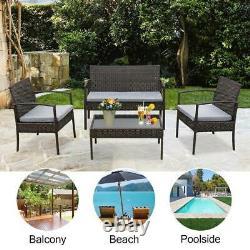 4PC In/Outdoor Patio Lawn Sofa Set Rattan Wicker Furniture Table Cushion Garden