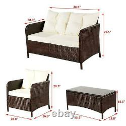 4PC Outdoor Furniture Patio Rattan Wicker Sofa Set Cushioned Couch Seat Garden