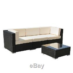 4PC Outdoor Patio Furniture Rattan Wicker Sectional Sofa Chair Couch Set Deluxe
