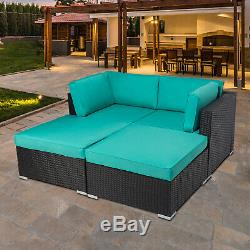 4PC Outdoor Patio Rattan Loveseat Wicker Sofa Cushioned Furniture Set With Ottoman