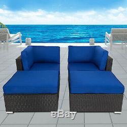 4PC Outdoor Patio Rattan Loveseat Wicker Sofa Ottoman Cushioned Furniture Set