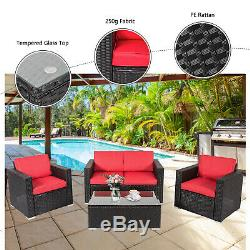 4PC Outdoor Rattan Sofa Set Sectional Cushioned Couch Garden Patio Furniture