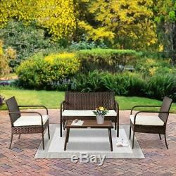 4PC Outdoor Rattan Wicker Furniture Set Loveseat Sofa Cushioned Patio Garden NEW