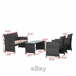 4PC Outdoor Rattan Wicker Sofa Patio Furniture Set Cushioned Seat Garden Deck
