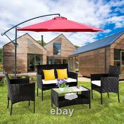 4PC PE Rattan Outdoor Patio Furniture Set Garden Lawn Sofa Wicker Table & Chair