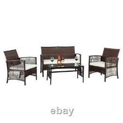 4PC Rattan Patio Furniture Set Outdoor Wicker With White Cushions Loveseat Table