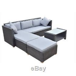 4PC Rattan Wicker Outdoor Patio Garden Furniture Set Coffee Table Yard Sofa Sets