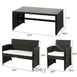 4PC Rattan Wicker Patio Furniture Set Sofa Chair +Table Cushioned Garden Outdoor