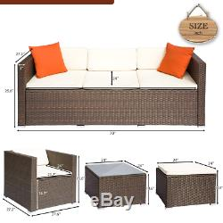 4PC Rattan Wicker Sofa Set Sectional Couch Cushioned Furniture Patio Outdoor
