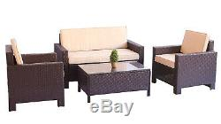 4PC Sofa Set Outdoor Patio Furniture Sectional Brown Rattan Wicker Chair