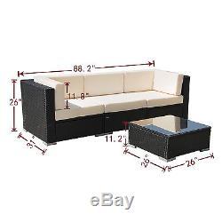 4Pcs Outdoor Rattan Wicker Patio Set Garden Lawn Sofa Sectional Furniture PE