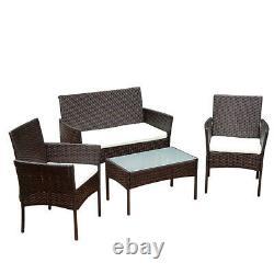 4Pcs Patio Sofa End Table Outdoor Furniture Garden Rattan Sectional Set Brown US