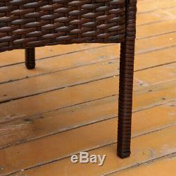 4Pcs Patio Sofa End Table Outdoor Furniture Garden Rattan Sectional Set Brown US