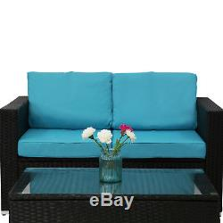 4 PCS All-Weather Rattan Wicker Sofa Set Sectional Couch Lounge Outdoor Patio