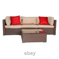 4 PCS Outdoor Home Patio Furniture Sets Sectional Sofa Rattan Chair Wicker Set