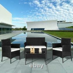 4 PCS Outdoor Patio Furniture Rattan Wicker Table Sofa Set with White Cushions