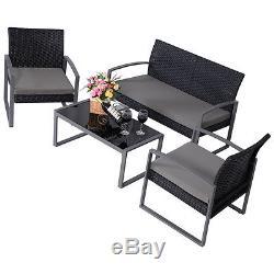 4 PCS Outdoor Patio Garden Black Rattan Wicker Sofa Set Furniture Cushioned