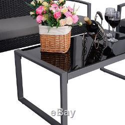 4 PCS Outdoor Patio Garden Black Rattan Wicker Sofa Set Furniture Cushioned NEW