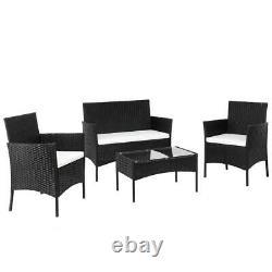 4 PCS Outdoor Patio PE Rattan Wicker Table Set Sofa Furniture with Cushion Black