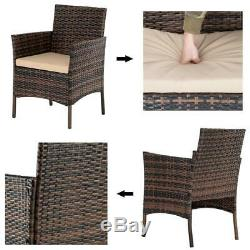 4 PCS Outdoor Patio PE Rattan Wicker Table Set Sofa Furniture with Cushion Brown