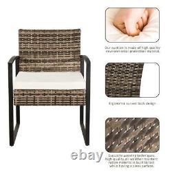 4 PCS Outdoor Patio Rattan Furniture Set Cushioned Sofa Coffee Table Garden Deck