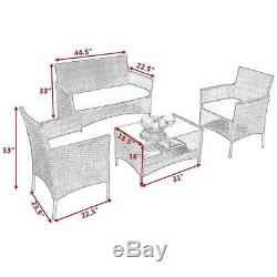 4 PCS Outdoor Patio Rattan Furniture Set Table Shelf Sofa With Beige Cushions New