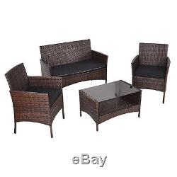 4 PCS Outdoor Patio Rattan Furniture Set Table Shelf Sofa With Black Cushions NEW