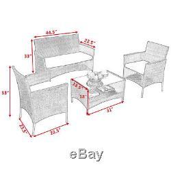 4 PCS Outdoor Patio Rattan Furniture Set Table Shelf Sofa With Black Cushions NEW